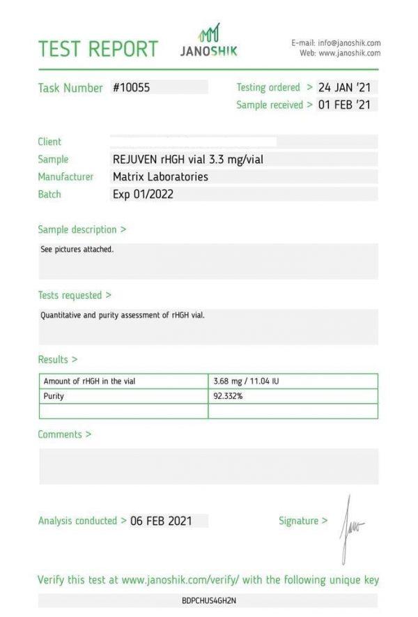 Rejuven HGH Test Results